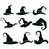 Set Of Hats Of Witches. Collection Of Headdresses Of Wizards. Silhouettes Of Hats For A Halloween. I poster