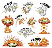 Comic Colorful Explosive Elements Collection With Bursts Explosions And Boom Effects Isolated Vector poster
