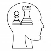 Chess Inside Human Head Icon. Outline Illustration Of Chess Inside Human Head Icon For Web poster