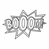 Boom, Comic Book Explosion Icon. Outline Illustration Of Boom, Comic Book Explosion Icon For Web poster