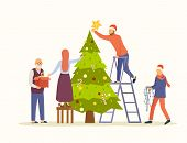 People Decorating Big Christmas Tree Vector Flat Illustration. Family Decorates The Tree For New Yea poster