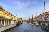 Copenhagen Denmark, City Skyline At Nyhavn Harbour poster