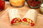 stock photo of chipotle  - Breakfast burrito in kitchen or restaurant - JPG