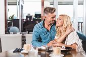 Affectionate Couple Going To Kiss During Date In Cafe poster