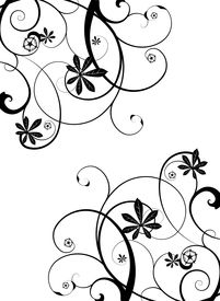 stock photo of floral design  - Gothic grunge floral design in black and white - JPG