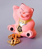pic of obeah  - maneki neko cat with golden dollar sign - JPG