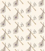 stock photo of lord krishna  - brown pipepeacock feather and symbol OM on beige background - JPG