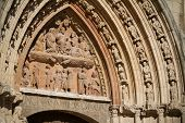 Tympanum Of San Esteban Church, Burgos. Spain