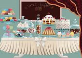 Different cakes on cake-stands and candies in candy jars standing on a table. All objects are groupe