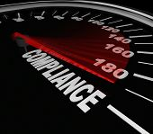 Compliance Word Speedometer tracking your progress toward rules, regulations, standards, policies an