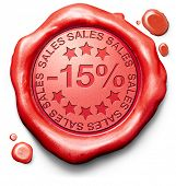 15% off sales summer or winter reduction extra low price buy for bargain limited offer icon red wax