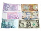 picture of nzd  - A photo of multiple country currency such as Malaysian Ringgit US Dollar New Zealand 5 Dinara 500 and Kenya - JPG