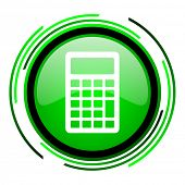 calculator green circle glossy icon
