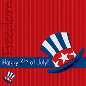 foto of uncle  - Patriotic Uncle Sam hat 4th of July card in vector format - JPG