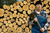 Ax Man And Log Pile