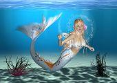 picture of fairy tail  - 3D digital render of a cute mermaid on blue fantasy ocean background - JPG