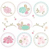 pastel floral decoration set