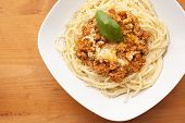 Portion Of Spaghetti Bolognese On A White Plate, Close-up