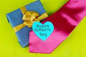 image of stereotype  - Happy Fathers Day tag with gift boxes and tie - JPG