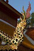 naga adorned by pillars in temple Thailand