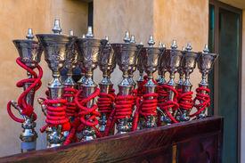 image of shisha  - Shisha pipes hookah on the streets of the Old Town in Dubai - JPG