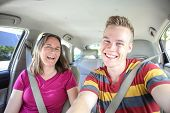 stock photo of seatbelt  - Mother and son in car - JPG