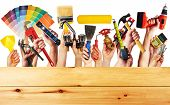 stock photo of tool  - Hands with construction tools - JPG