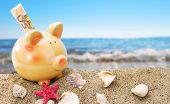 image of sand dollar  - Piggy bank on sand with summer sea background - JPG