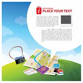 pic of passport template  - Travel Illustration with speech bubble for text layout - JPG