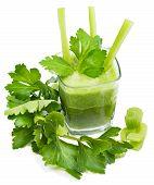 image of celery  - Freshly squeezed celery juice leaves of celery - JPG