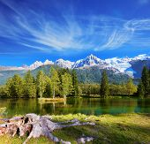 picture of snow capped mountains  - City park in the Alpine resort of Chamonix - JPG