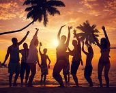stock photo of break-dance  - Diverse People Dancing and Partying on a Tropical Beach - JPG