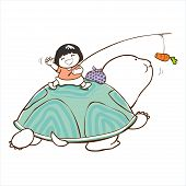 picture of bye  - little girl say bye on the turtle in long journey - JPG