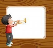 stock photo of trombone  - Illustration of a boy playing with his trombone in front of an empty template - JPG