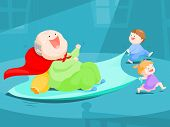 stock photo of grandpa  - grandpa play slider by bed sheet with his nephews - JPG