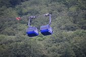 pic of ropeway  - Two ropeway cabins next to eaxh other in the summer - JPG