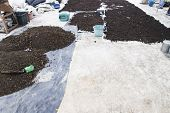 foto of excrement  - pile of natural manure fertilizer made from cow excrement - JPG
