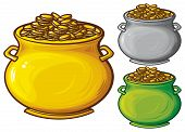 stock photo of pot gold  - pot of gold coins vector illustration on white background - JPG