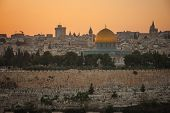 picture of aqsa  - A view of Jerusalem old city at sunset - JPG