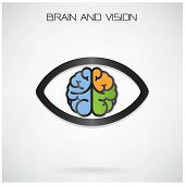 stock photo of right brain  - Left and right brain and eye symbol - JPG