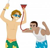 stock photo of fool  - Illustration of Male Teens Fooling Around with a Beer Funnel - JPG