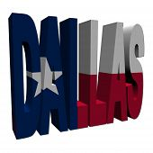 pic of texans  - Dallas 3d text with Texan flag on white illustration - JPG