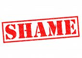 stock photo of shame  - SHAME red Rubber Stamp over a white background - JPG