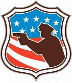 foto of shooting stars  - Illustration of a silhouette of a policeman police officer pointing shooting gun facing side set inside shield crest with american stars and stripes flag in the background done in retro style - JPG