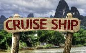 picture of cruise ship caribbean  - Cruise Ship sign with a forest background - JPG