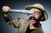 foto of safari hat  - Man in safari hat in hunting concept - JPG