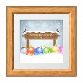 picture of plaque  - Christmas background with Wooden Plaque Bullfinches and Bauble in Wooden Frame - JPG