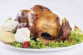 stock photo of give thanks  - Grilled turkey on the plate for christmas and thanks giving day - JPG