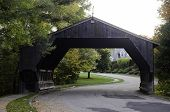 foto of covered bridge  - A view of a covered bridge in Massachusetts - JPG