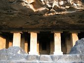 picture of ellora  - entrance into the cave temple in india - JPG